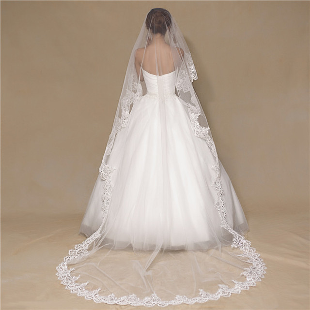 Best 3M Long Bridal Veils Exquisite Sequined Lace Edge One Layer Wedding Accessories For Big Train Dresses
