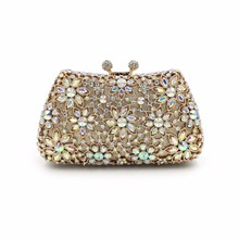 2016 Luxury crystal diamond flower evening bag bride bag full European and American high-grade drill banquet bag dinner handbag