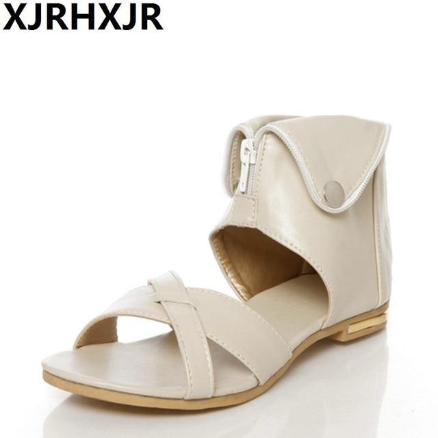 XJRHXJR Plus Size 34-43 Flats Summer Women s Sandals 2018 New Fashion  Casual Shoes For Woman European Rome Style Sandalias 6e5ebe4635b2