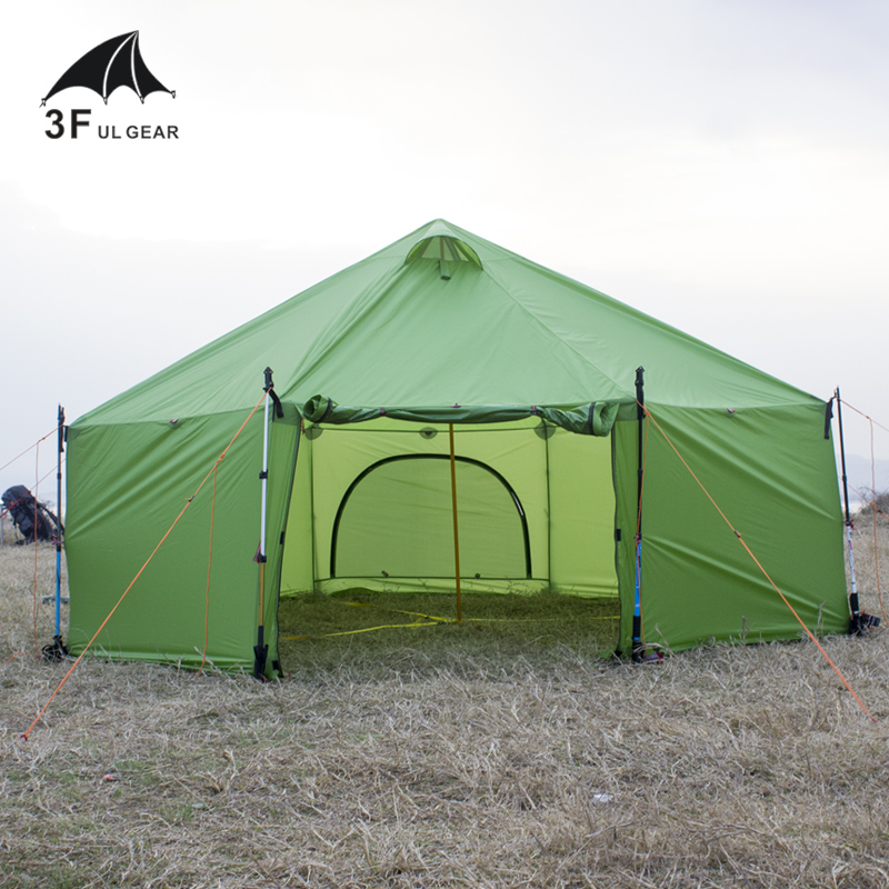 3F team tent Super large ultra light 8-12person anti rain wind hiking mountaineering outdoor camping tent,base family tent super large anti big rain and wind 8 person outdoor tent multi purpose hexagon gazebo large family tent camping pergola