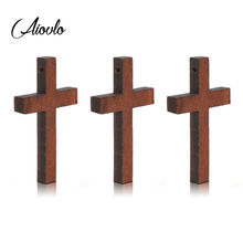 Подвеска крест из натурального дерева aiovlo 20 шт/лот подвеска