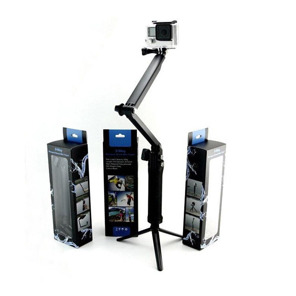Ajustable 3 agarre para GOPRO Hero 5 6 4 sesiones SJ4000 para XIAOMI YI 4 K cámara para GoPro Selfie palo con trípode Kits