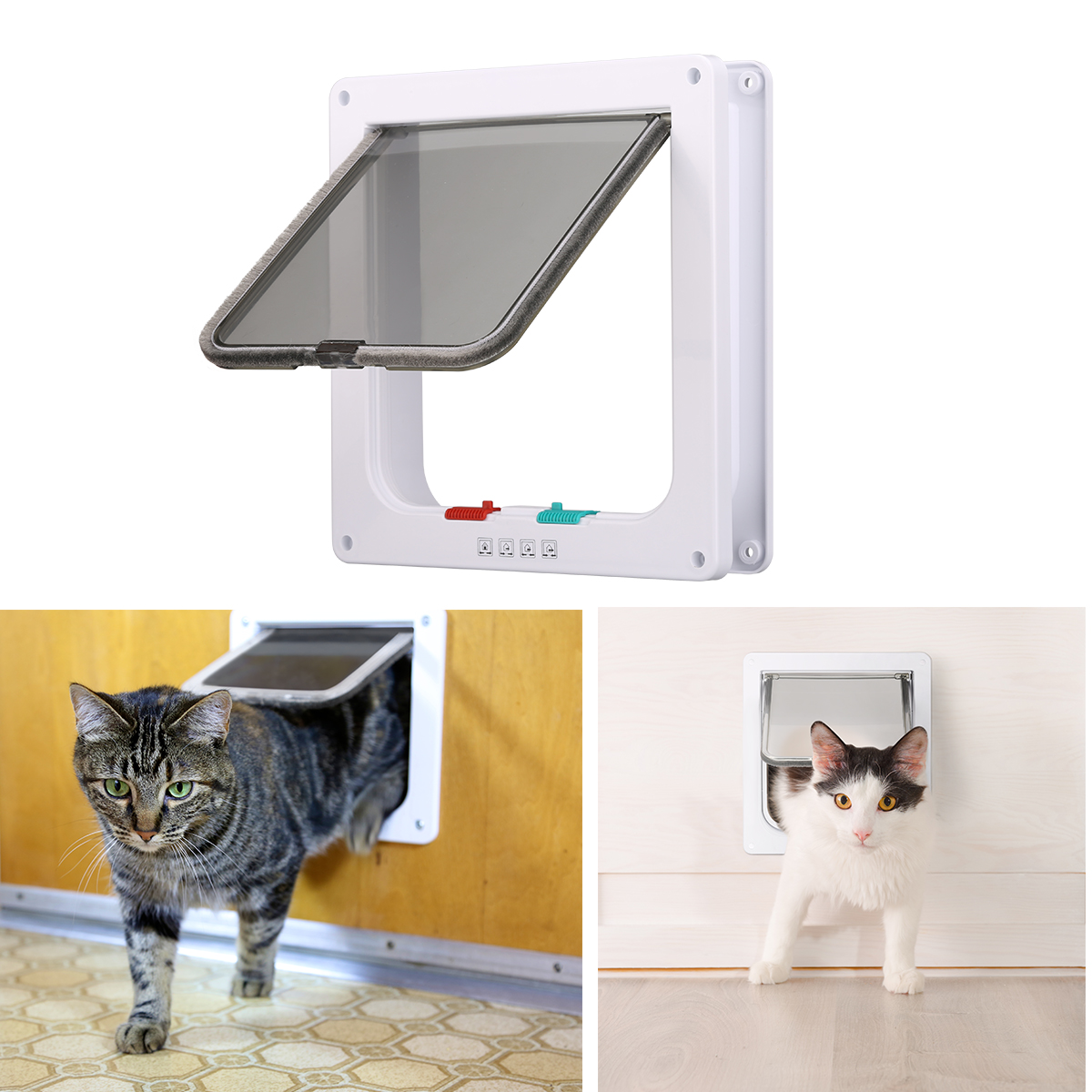 4 Way Pet Cat Puppy Dog Supplies Lock Lockable Safe Flap Door White Cat Gates S Size