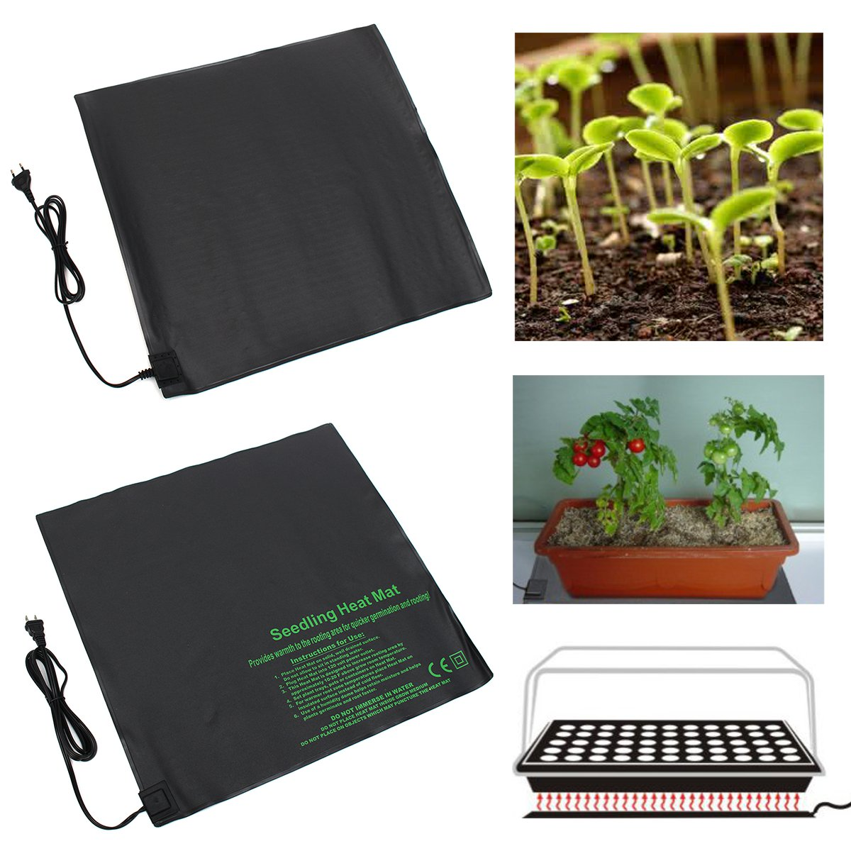 45W Seedling Heating Mat Waterproof Plant Seed Germination Propagation Clone Starter Pad Heat Mat Garden Supplies 52x52cm