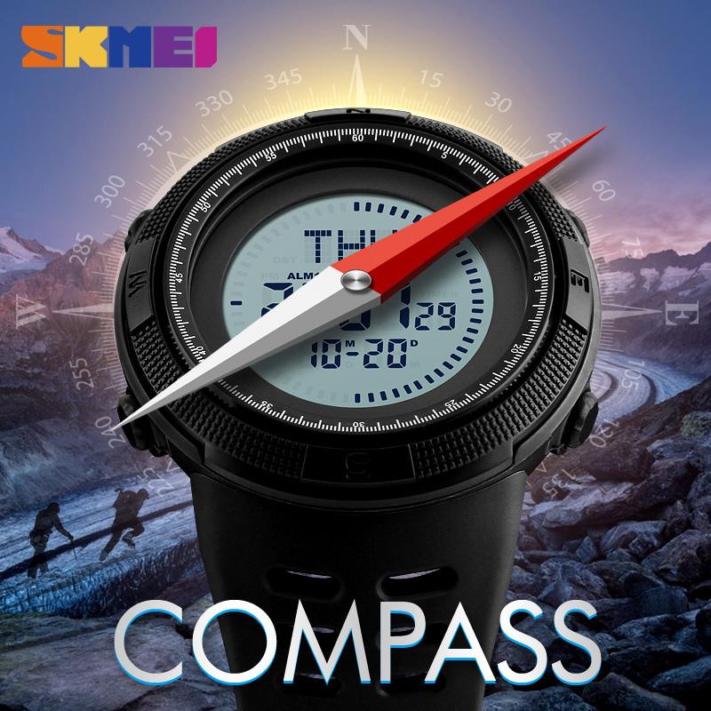 SKMEI Compass Men Sports Watches World Time Summer Time Watch Countdown Chrono Waterproof Digital Wristwatches Relogio Masculino skmei sports watches men outdoor shock chrono military watch dual time waterproof led digital wristwatches relogio masculino