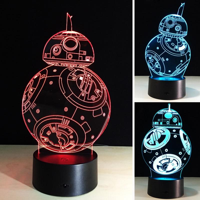 ФОТО 3D Stereo Night Light Acrylic UsbLED Colorful Night Light 0.5W Robot Creative Lamp Touch TypeBedroom Cartoon Atmosphere Lights
