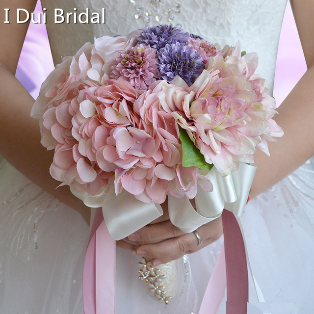 Pink Purple Flower Bridal Bouquet with Crystal Rhinestone Handle ...