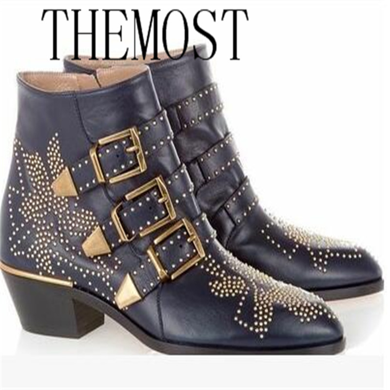 THEMOST Winter Genuine Leather Buckle Ankle Boots For Women Pointed Toe Kitten Heels Motorcycle boots Shoes Women zapatos mujer