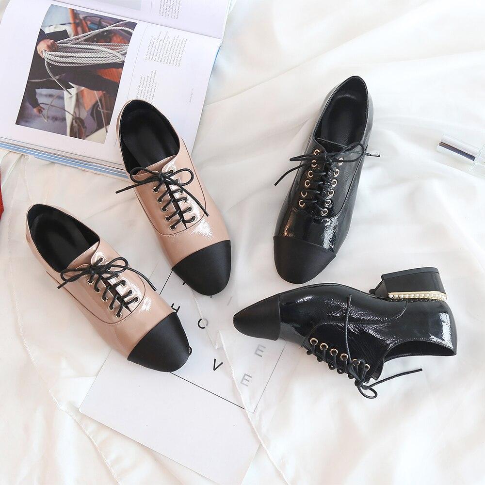 Chaussures Bout De Lacets Vintage Oxford Chaussure Bimolter Satin Dames Commune Perle Homme apricot Femmes Style Lfeb011 Sculpté Britannique Appartements Black Pointu À QtChrdxs