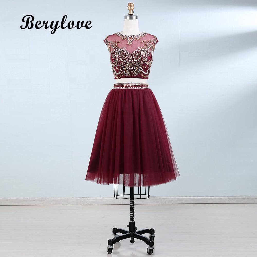 BeryLove İki Adet Scooped Kısa Mezuniyet Elbiseleri Boncuk İnciler - Özel Günler Için Elbise - Fotoğraf 1