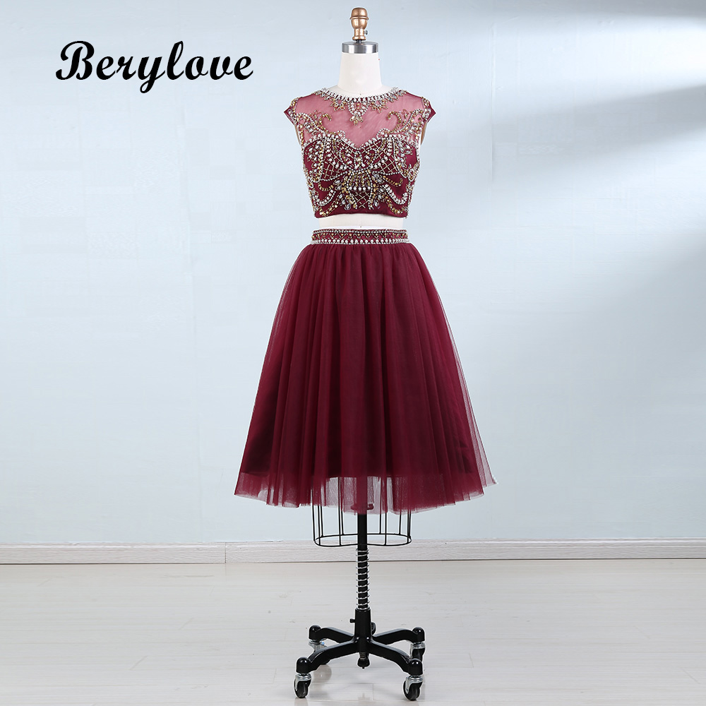 BeryLove Two Piece Scooped Short Homecoming Dresses Beading Pearls High quality Cocktail Dresses Women Graduation Party Dresses