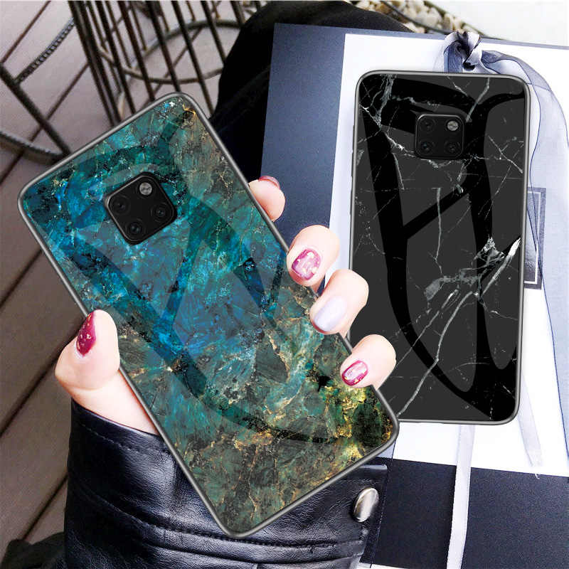 For Huawei Mate 20 Pro Case Luxury Marble Grain Hard Tempered Glass Protective Back Cover Case for huawei mate 20 20pro mate20
