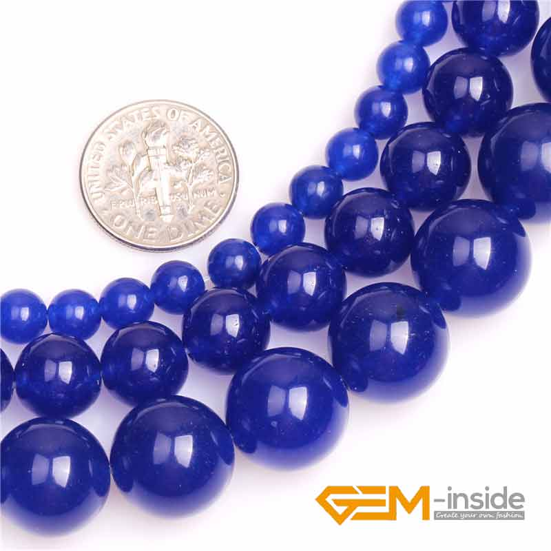 "Round blue Jades Beads select: 8mm 10mm 12mm 14mm Natural Quartzs Bead DIY Bead For Women Bracelet Making Strand 15"" Wholesale!(China)"