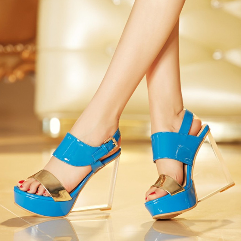 Brand New Patent Leather Women Sandals High Heels Transparent Shoes Summer Women Pumps Clear Heel Ladies Shoes High Quality