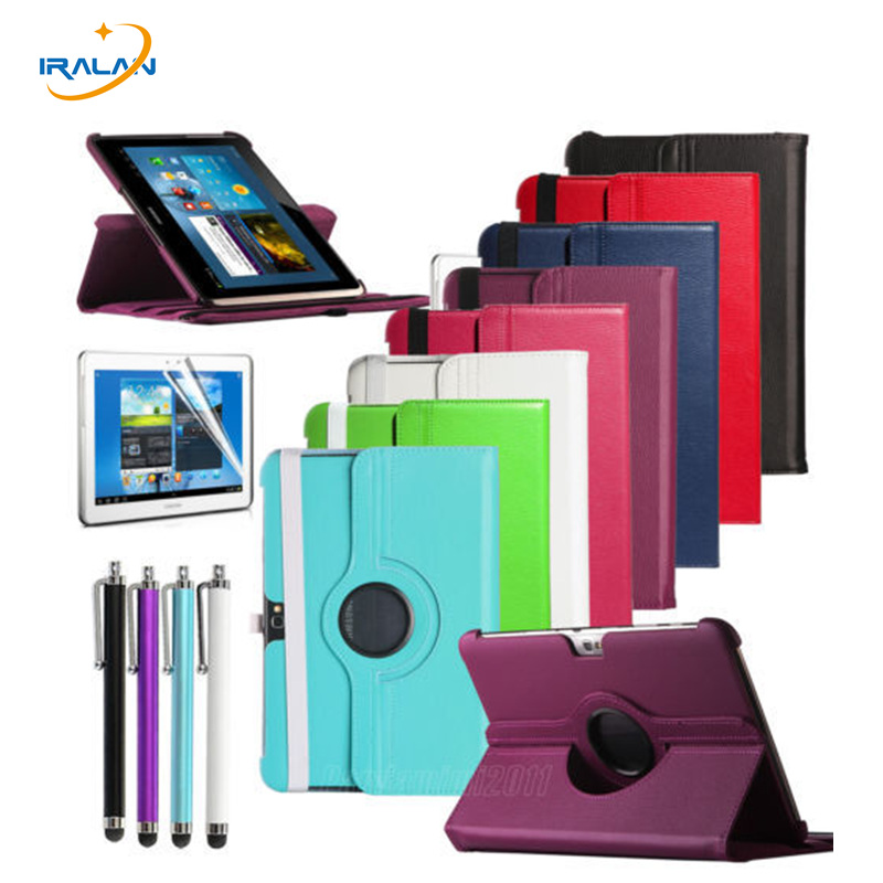 2018 hot 360 Degree Rotating Leather Case Cover For Samsung Galaxy Note 10.1 GT-N8000 N8010 N8020 Protective shell +Stylus +film rotating stand cover for samsung galaxy note gt n8000 n8013 tablet case pu leather 360 degree case for note 10 1 2012 editon
