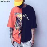 VERSMA 2017 American Style Metallica Hit Color Patchwork Character Men T Shirt Half Sleeve O Neck