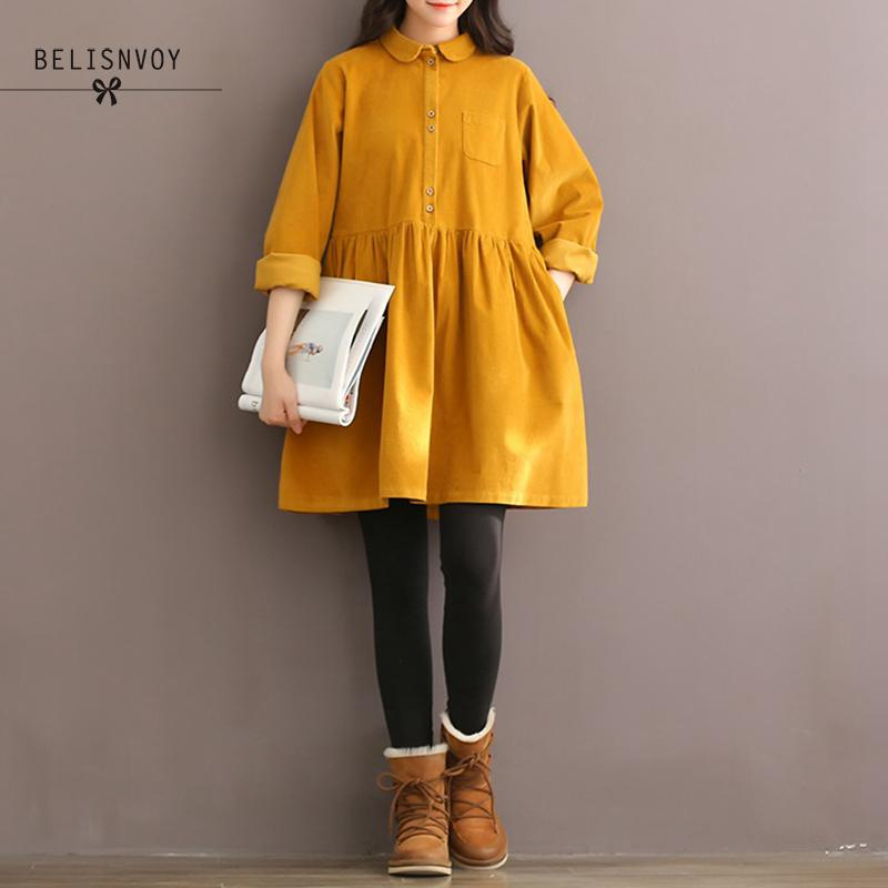 Robe Femme High Quality Autumn Winter Women Corduroy Dress Long Sleeve Mori Girl Peter Pan Collar Vintage Dress Vestidos