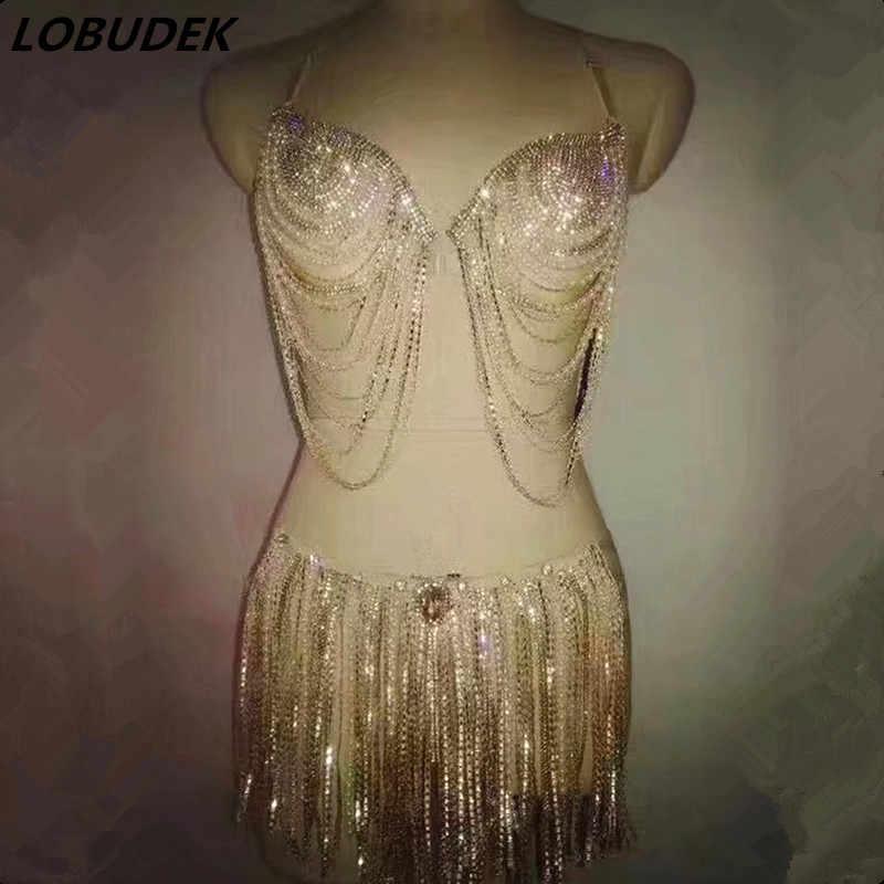 ゴールドキラキララインストーンタッセルビキニ女性衣装バーナイトクラブ DJ 歌手ダンスポールダンスパフォーマンスステージ衣装