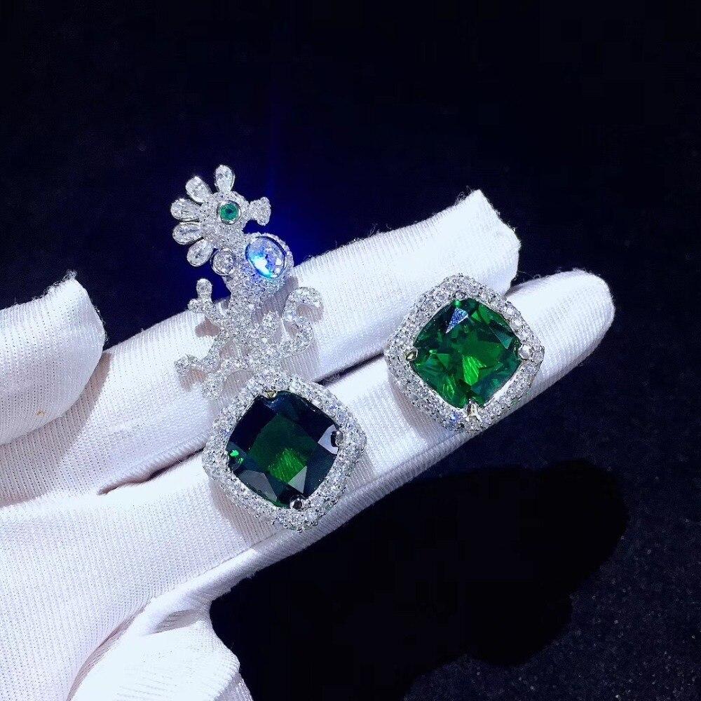 Asymétrie 925 argent sterling avec zircon cubique cheval de mer stud boucle d'oreille couleur verte mode femmes bijoux de haute qualité