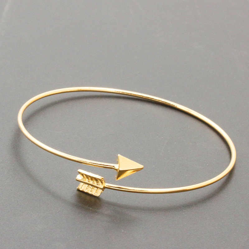 Geometric Double Triangle Arrow Bangle Alloy Gold Silver Plated Classic Bangles Fashion Design Opening For Men Wome