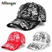 Boné de beisebol graffiti feminino 2020 verão carta impressão snapback gorras para hombre casquette femme hip hop chapéus branco preto