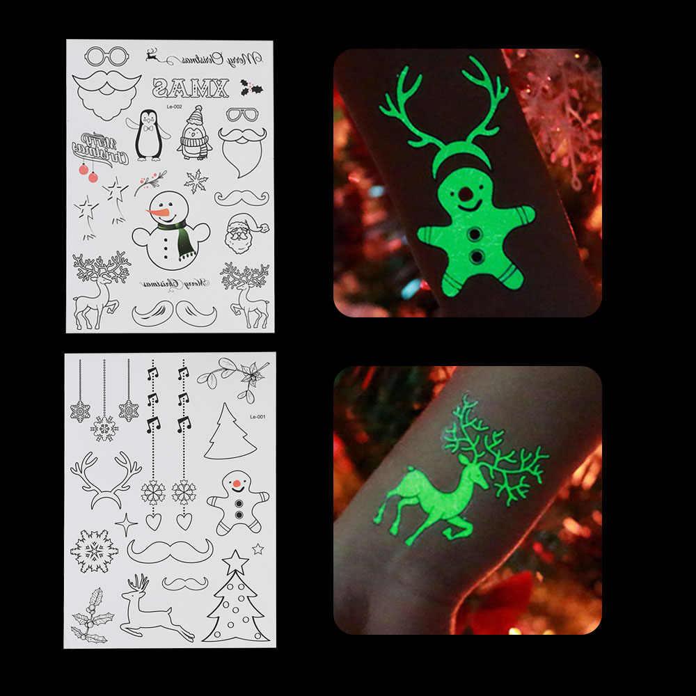 1 hoja de tema de Navidad luminoso tatuaje temporal a prueba de agua Calcomanía para arte corporal tatuaje fluorescente pegatina decoración de Navidad