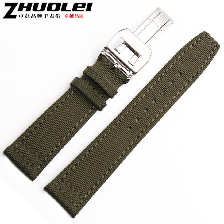 20mm 21mm 22mm Nylon+Genuine leather watchband With deployment  Clasp Buckle For(fit) Pilot Army green and black color watch straps with silver black deployment clasp watchband genuine leather bracelet for men women watches 20mm 21mm 22mm hot sell