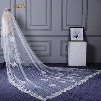 Long Wedding Veil Butterfly Applique Lace Cathedral Bridal Veil Ivory One Layer Bride Wedding Accessories