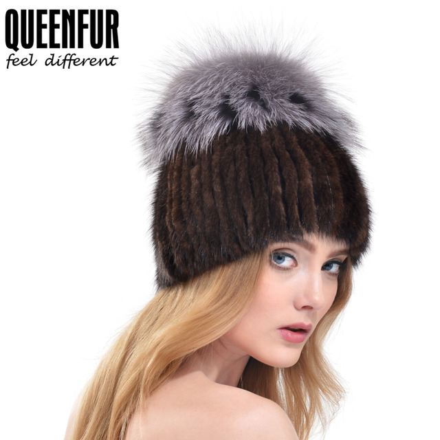 QUEENFUR Real Knitted Mink Fur Hat With Silver Fox Fur Flower Stripe Ball Top Hat 2016 New Arrival Casual Caps High Quality