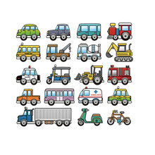 wholesale cars bus pathes appliques kids ironing stickers set heat transfer washabe diy badges iron-on transfers for clothing