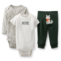 BSLL3-022, Original, Just Arrived,  Baby Girls 3-Piece Set, Long and Short Sleeve Bodysuits+ Pants, Free Shipping