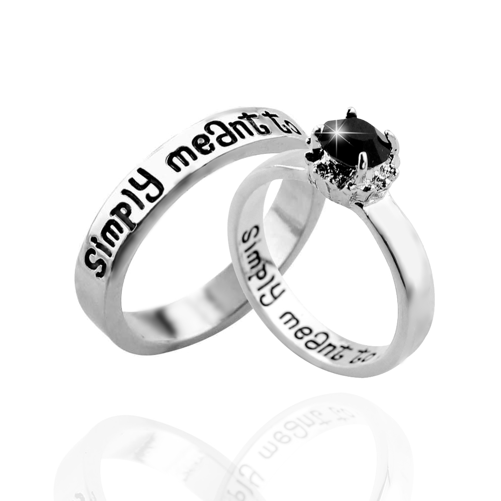 Vintage Couple Ring We are Simply Meant to Be Letter Black Crystal Silver Color Men Rings For Women Charm Jewelry Accessories|Rings|   - AliExpress