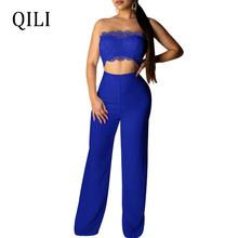 QILI Women Strapless Two Piece Set Jumpsuits Lace Top+Pants Solid Wile Leg Romper Fashion Casual