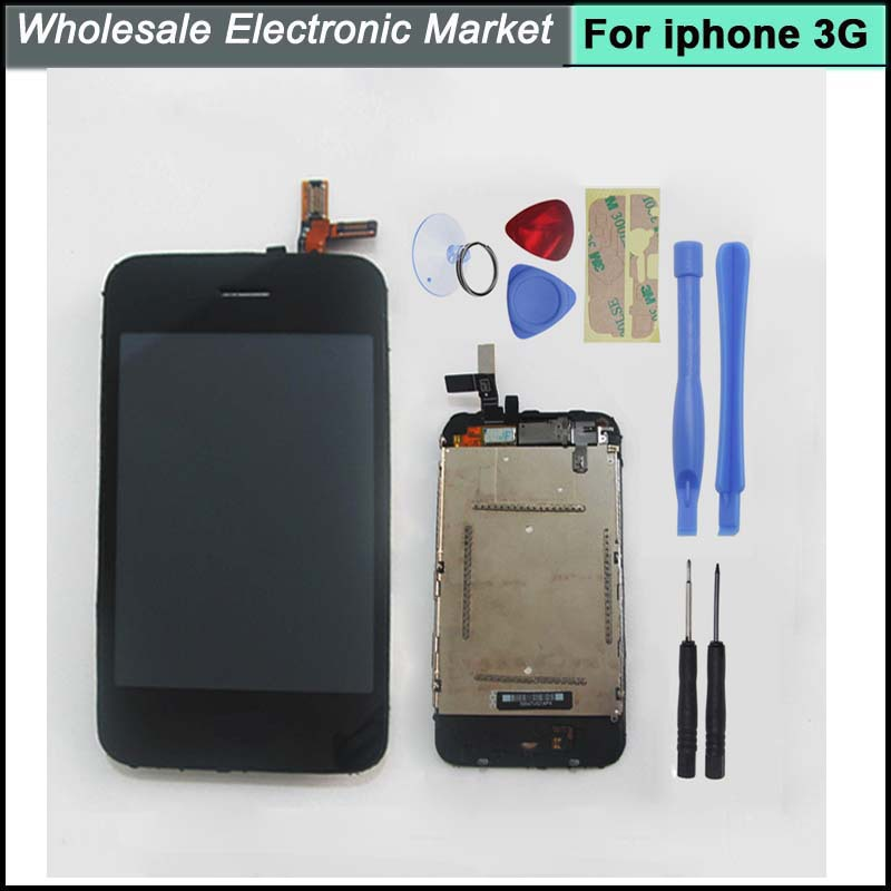 High Quality LCD Display Digitizer Touch Screen lens Tools Home Button For iPhone 3G Replacement Black