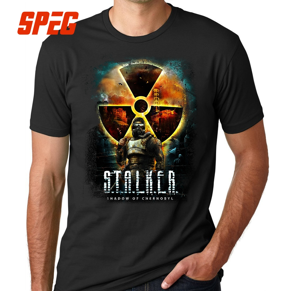 Casual Tees   Shirts   Stalker Shadow of Chernobyl Cool   T     Shirts   Men's Organnic Cotton Short Sleeve Men's Solid   T  -  Shirt   Round Collar