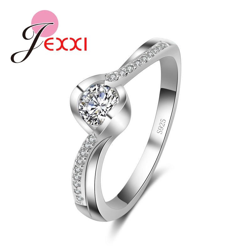 JEXXI Hot Selling Bijoux New Fashion Women Finger Ring Ladies Female White Crystal Rings Jewelry Wedding Accessories Wholesale