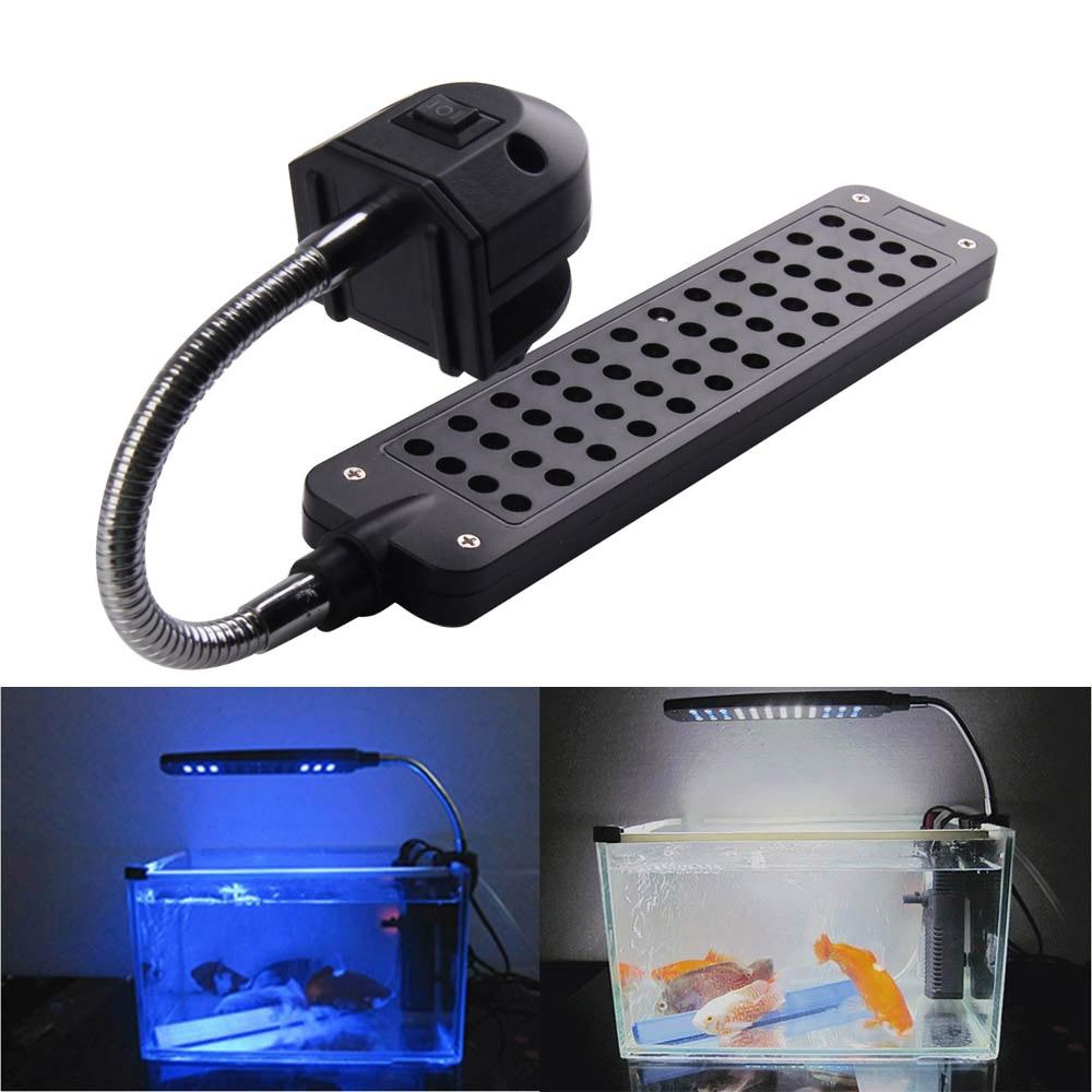 12 bleu + 36 blanc DC12V 3.5 W 48LED Clip-sur LED Aquarium Lumière lampe Pour Coral Reef Fish Avec L'UE Plug Fish Tank Ornement éclairage