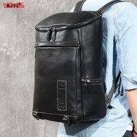 BJYL из натуральной кожи мужская сумка Новый большой емкости 15,6 дюймов ноутбук сумка черная кожа мужские туристические рюкзаки, сумки