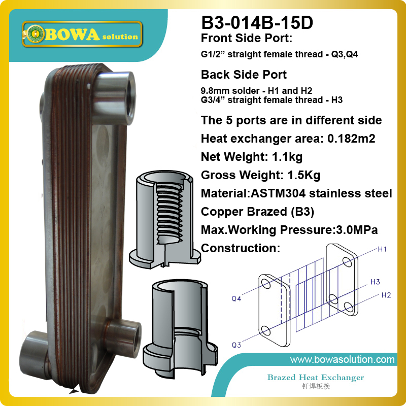 B3-014-15  0.18m2 heat exchanger area Different side plate heat exchanger used in gas burner water heater b3 026b 26d copper brazed stainless steel big hole type plate heat exchanger for heating equipment and water chiller 7kw r22