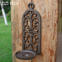 cast iron arch hollow wall hanging candlestick candle holders retro decorations courtyard home pendants Garden decoration