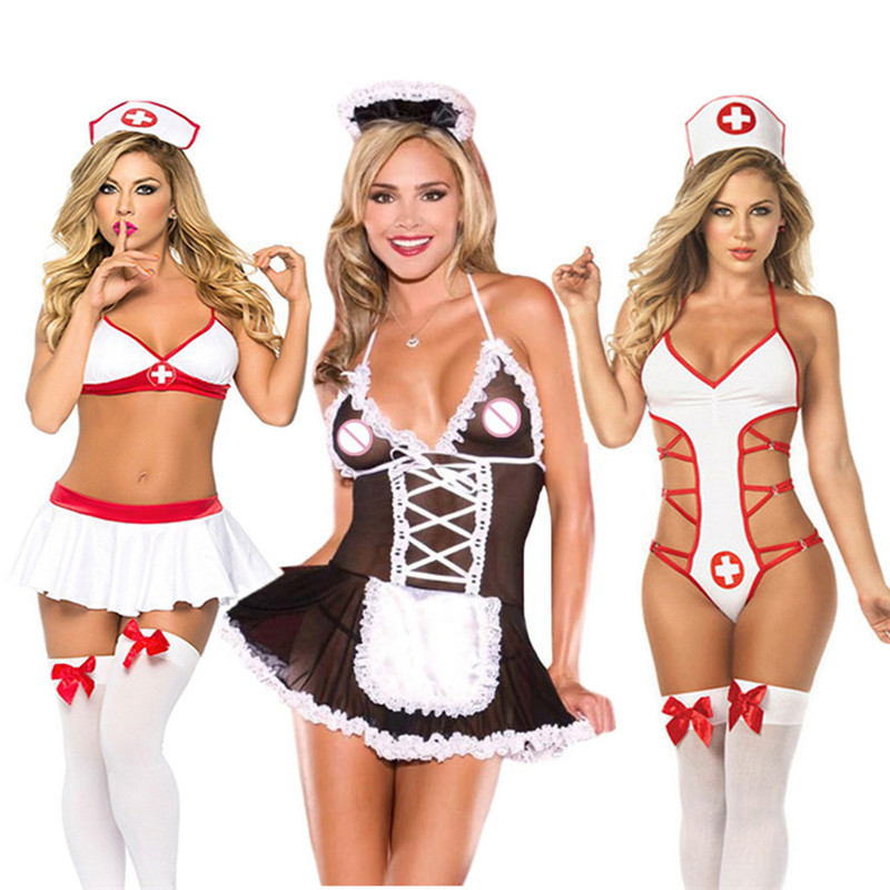 <font><b>Sexy</b></font> <font><b>Lingerie</b></font> Hot Lace Transparent Erotic <font><b>Lingerie</b></font> Women <font><b>Cosplay</b></font> Nurse Maid Uniform Sex Costumes Erotic Underwear Sex Products image