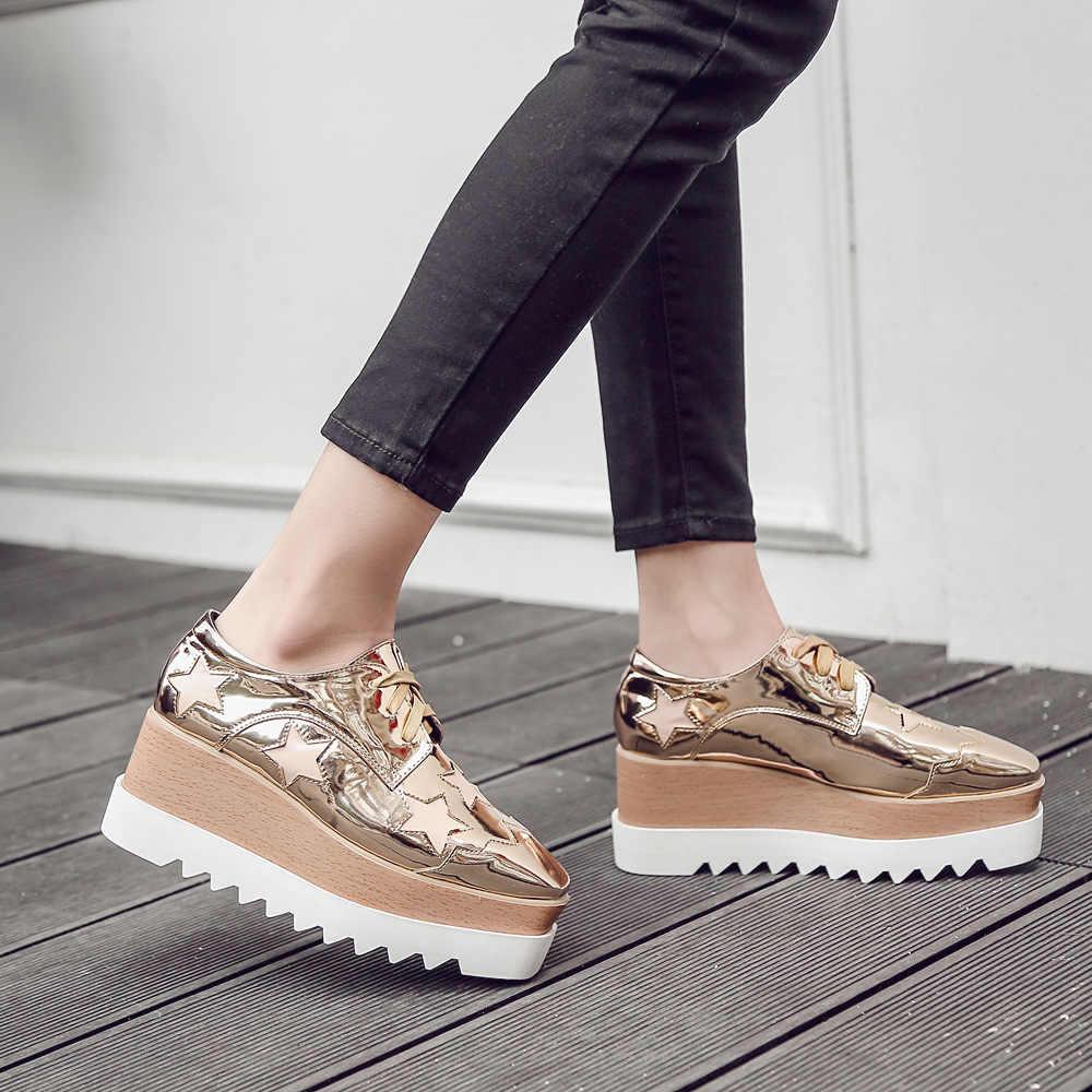 European Gold/Silver Brogue Shoes Woman