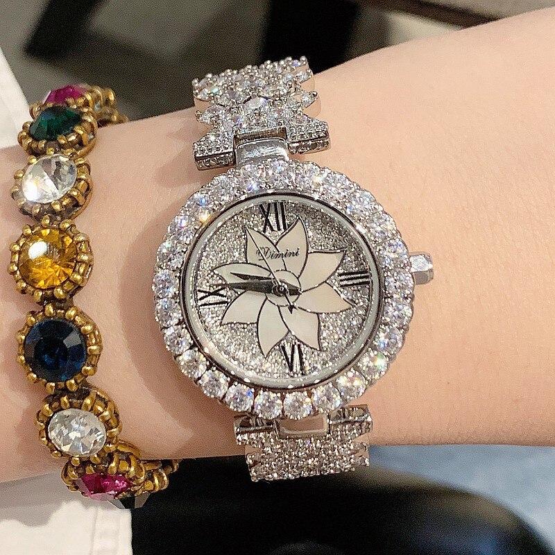 2019 Super Women Watches Fashion Elegant Silver Ladies Watch Women Diamond Crystal Quartz Dress Watches reloj