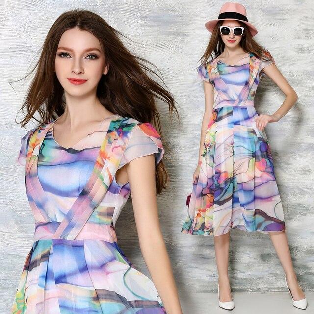 4fa93143b41 New Summer Dress 2016 Women fancy print Casual Chiffon Dress Short sleeve  Midi Long bodycon dress Beach Style
