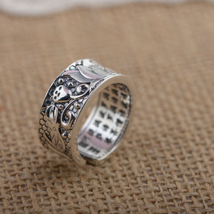 Image 4 - BALMORA Real 999 Pure Silver Lotus Flower Buddhism Sutra Open Rings for Women Men Gift Religious Retro Fashion Jewelry Anillos