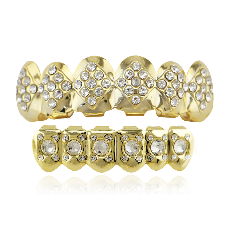 Us 6 02 Hip Hop Tooth Grillz Set Fake Cap Top Bottom Grill For Cool Body Jewelry Rhinestone Inlay Custom Teeth Bijoux In