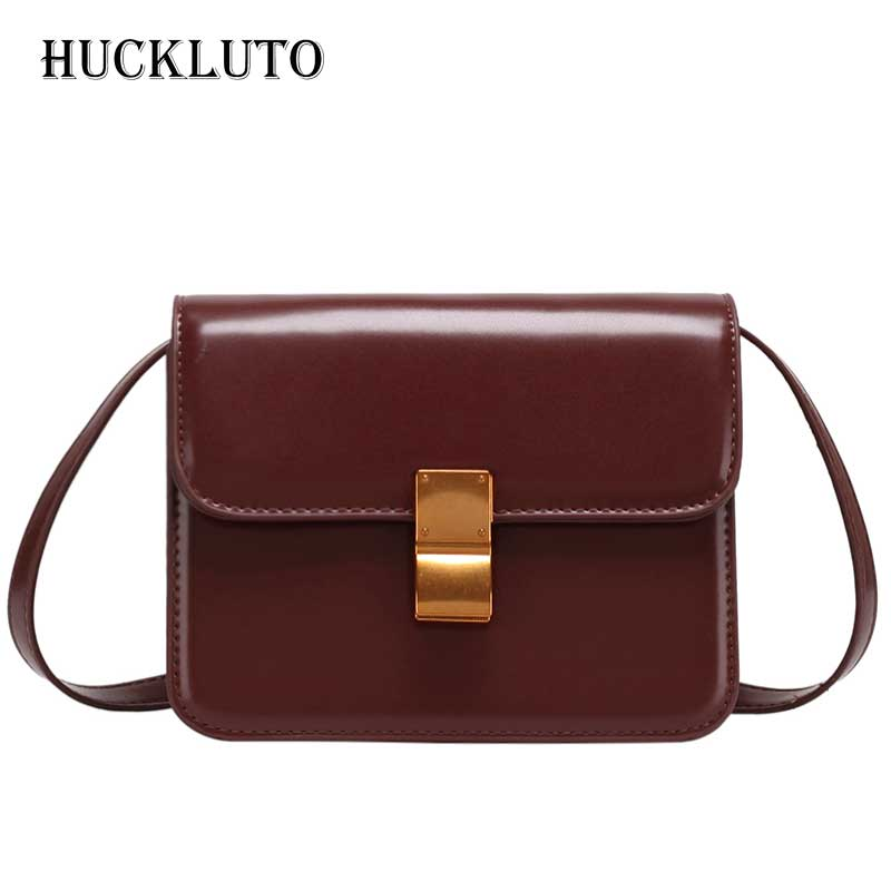 HuckLuto 2019 New Hot Sale Korean Fashion Luxury Retro Solid Tofu Bag Shoulder Messenger Bag Leather Womens Square Small BagHuckLuto 2019 New Hot Sale Korean Fashion Luxury Retro Solid Tofu Bag Shoulder Messenger Bag Leather Womens Square Small Bag