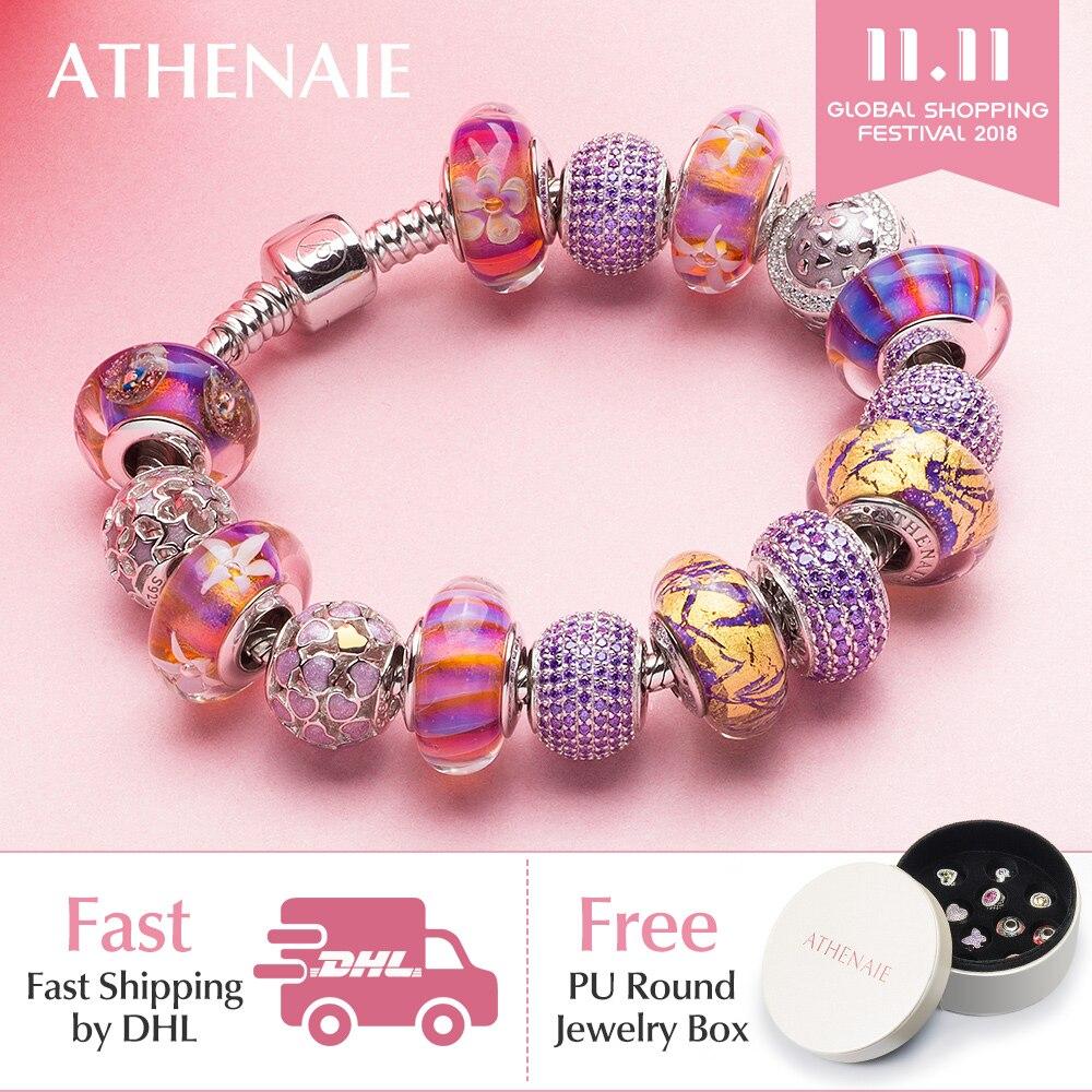 ATHENAIE 925 Silver Color Strand Bracelet Elegant Purple Flower Gold Foil & Enamel Murano Glass Beads For Women Charm Bracelet fresh beads rhinestone flower bracelet for women