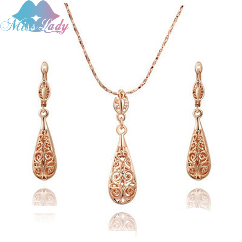 Miss Lady Rose Gold color Rhinestone Crystal Vintage Water Drop