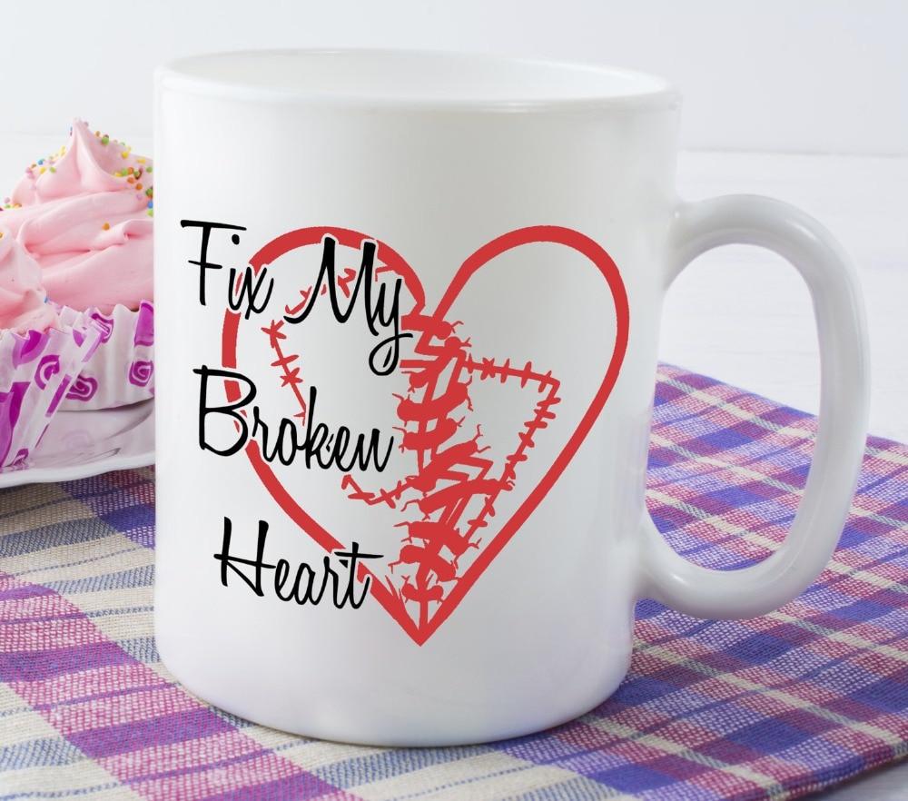 Fix My <font><b>Broken</b></font> Heart mugs beer travel milk <font><b>cup</b></font> porcelain coffee mug tea <font><b>cups</b></font> home decor novelty friend gift birthday gifts
